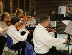 Schmucker Orchestra students perform for  P-H-M School Board (11/28/16)