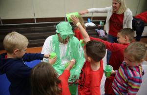 Bittersweet students slime Principal Thompson as part of the Bobcat Blitz fundraiser