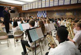 Schmucker Orchestra students perform at Nov. 2018 Veterans Day program
